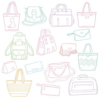 Conjunto de doodle contorno moda bolsas coleção