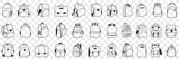 Conjunto de doodle de acessórios para mochilas casuais