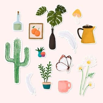 Conjunto de doodle de adesivo botânico em aquarela