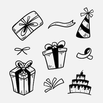 Conjunto de doodle de aniversário de caixa de presente desenhado à mão silhueta