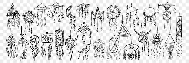 Conjunto de doodle de apanhador de sonhos.