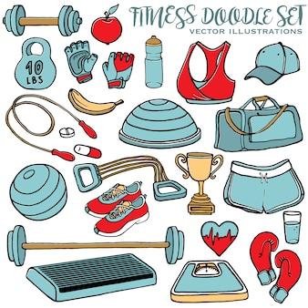 Conjunto de doodle de aptidão de mão desenhada, equipamentos de esporte e roupas