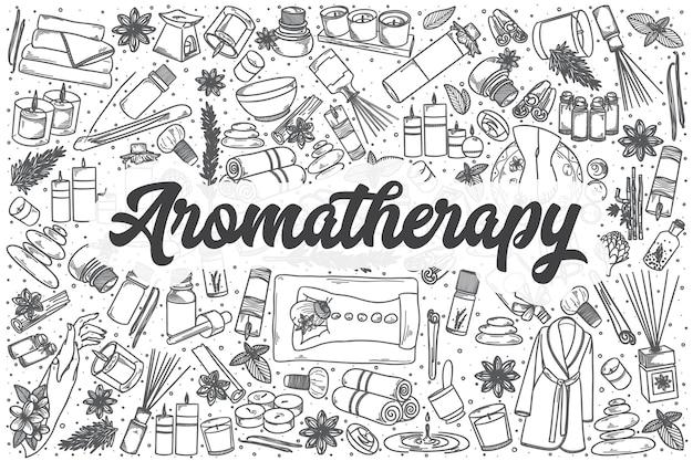 Conjunto de doodle de aromaterapia de mão desenhada. letras - aromaterapia