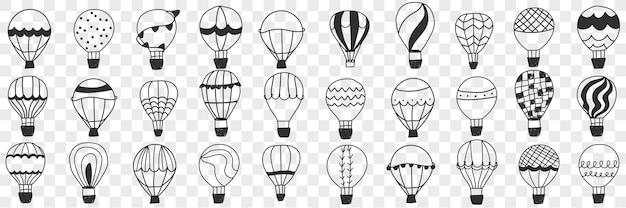 Conjunto de doodle de balão de ar voador