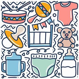 Conjunto de doodle de bebê desenhado à mão com ícones e elementos de design