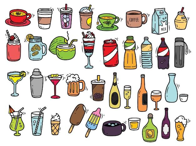 Conjunto de doodle de bebidas isolado no fundo branco