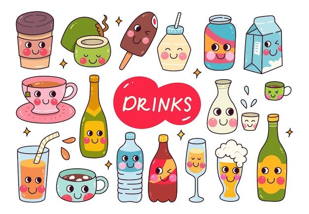 Conjunto de doodle de bebidas kawaii com bebida desenhada à mão