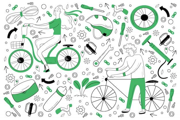 Conjunto de doodle de bicicleta