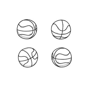 Conjunto de doodle de bola de basquete