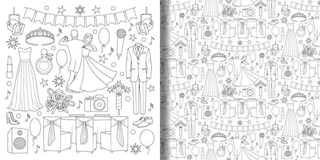 Conjunto de doodle de bola e padrão sem emenda com objetos de celebração para a página de estampas de têxteis para colorir