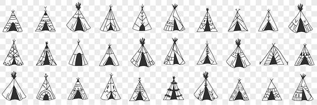 Conjunto de doodle de cabana étnica americana