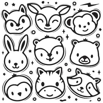 Conjunto de doodle de cabeça de animal