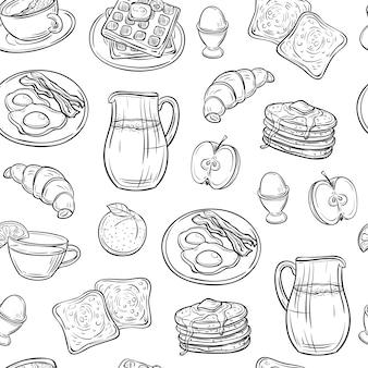 Conjunto de doodle de café da manhã