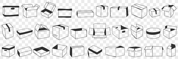 Conjunto de doodle de caixas abertas e fechadas