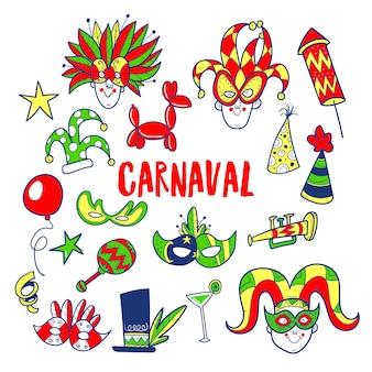 Conjunto de doodle de carnaval de mão desenhada