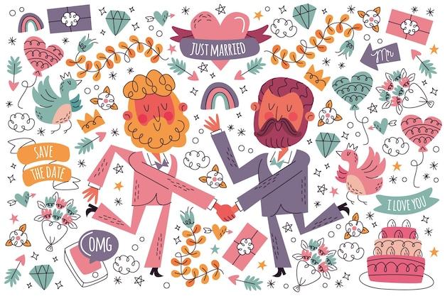 Conjunto de doodle de casamento desenhado à mão