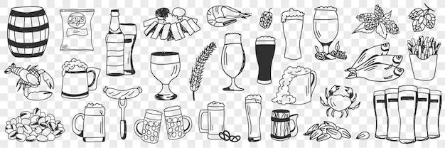 Conjunto de doodle de cerveja e lanches