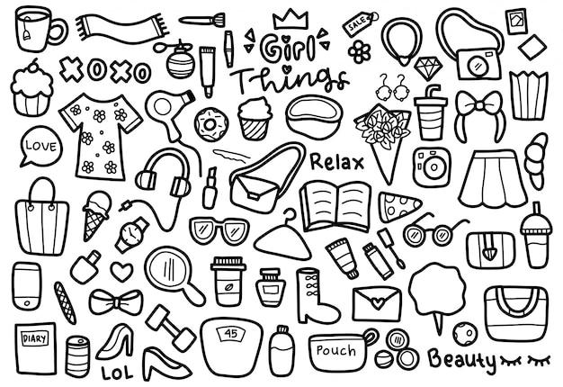Conjunto de doodle de coisas de menina