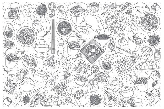 Conjunto de doodle de comida chinesa