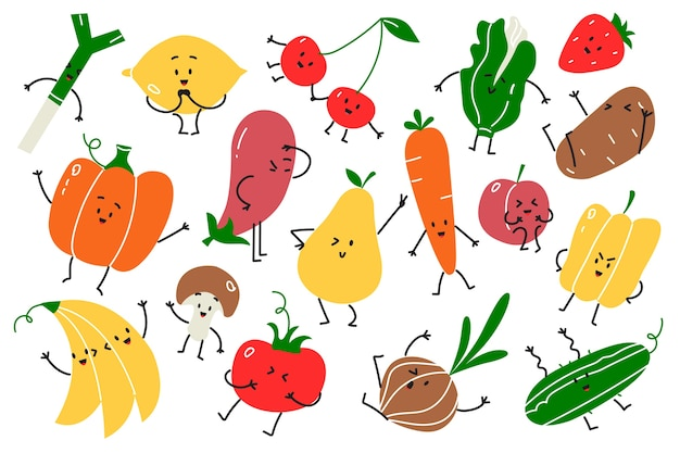Conjunto de doodle de comida vegan. mão desenhada doodle comida vegetariana mascotes frutas felizes emoções maçã cenoura abóbora cereja banana e no fundo branco. ilustração de nutrição, saúde, vitaminas