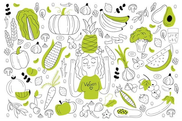 Conjunto de doodle de comida vegana