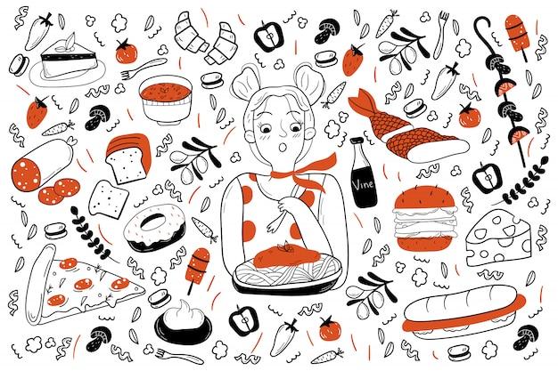 Conjunto de doodle de comida