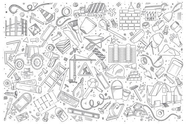 Conjunto de doodle de construção