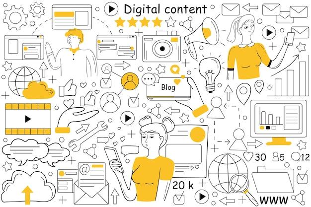 Conjunto de doodle de conteúdo digital