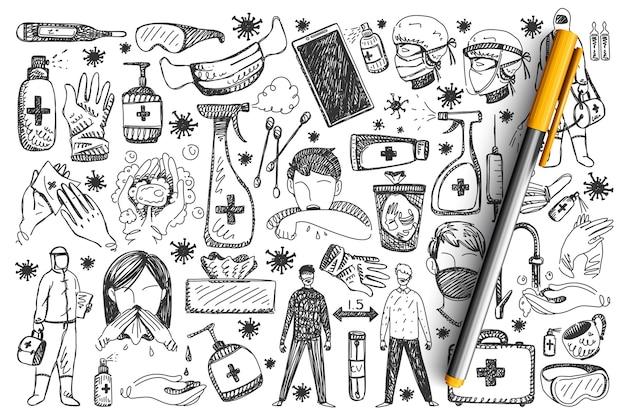 Conjunto de doodle de coronavírus.