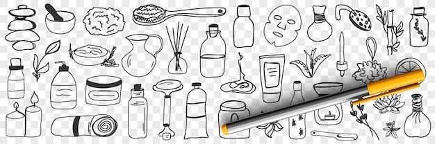 Conjunto de doodle de cosméticos e tratamentos de beleza
