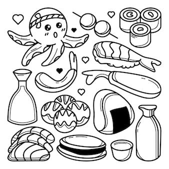 Conjunto de doodle de cozinha japonesa