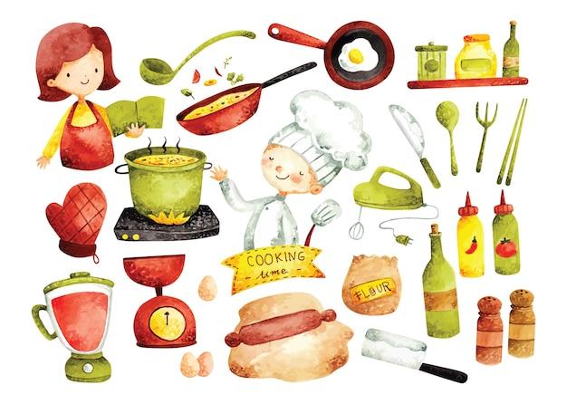Conjunto de doodle de cozinha, utensílios de cozinha e ingredientes em estilo aquarela
