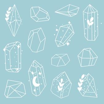 Conjunto de doodle de cristais de pintados à mão. ilustração vetorial