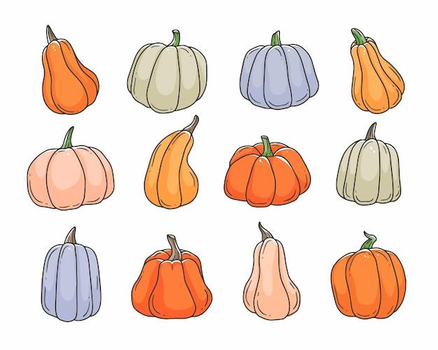 Conjunto de doodle de desenho animado de abóboras multicoloridas ilustração em vetor bonito contorno isolada no fundo