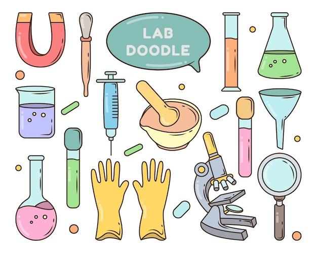 Conjunto de doodle de desenho de equipamento de laboratório desenhado à mão