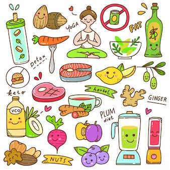 Conjunto de doodle de dieta kawaii