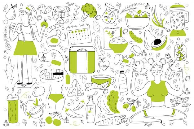 Conjunto de doodle de dieta