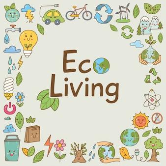 Conjunto de doodle de ecologia no estilo kawaii