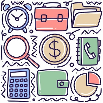 Conjunto de doodle de economias desenhado à mão com ícones e elementos de design