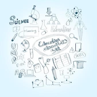 Conjunto de doodle de educação