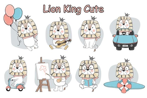 Conjunto de doodle de elemento de atividade de leão fofo