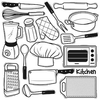 Conjunto de doodle de elemento de cozinha desenhado à mão