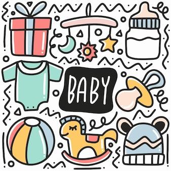 Conjunto de doodle de equipamento de bebê desenhado à mão com ícones e elementos de design