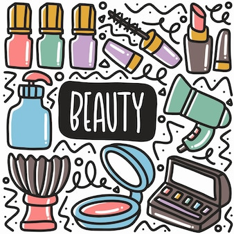 Conjunto de doodle de equipamento de beleza desenhado à mão com ícones e elementos de design