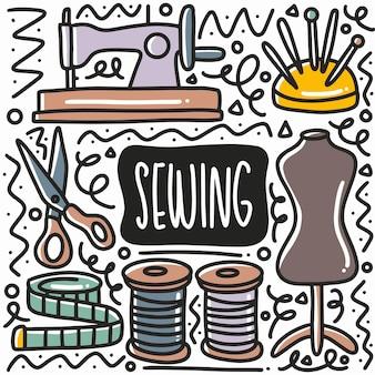 Conjunto de doodle de equipamento de costura desenhado à mão com ícones e elementos de design