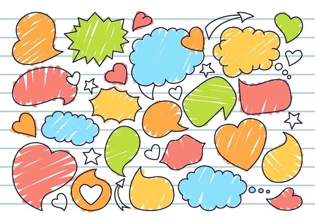 Conjunto de doodle de esboço de bolha de discurso