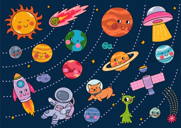 Conjunto de doodle de espaço do estilo kawaii Vetor Premium