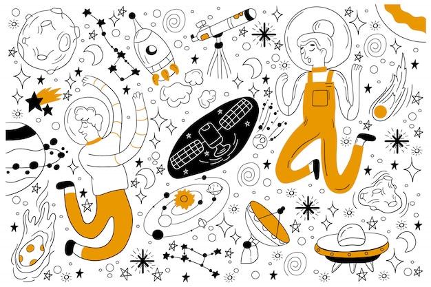 Conjunto de doodle de espaço