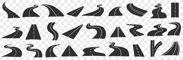 Conjunto de doodle de estrada e rodovia