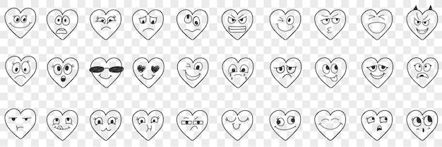Conjunto de doodle de expressões faciais de coração